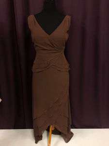 Cameron Blake Size 14 Brown Bead Ruffle Formal Dress
