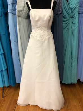 Casablanca Size 10 White Bead Strap Wedding Dress