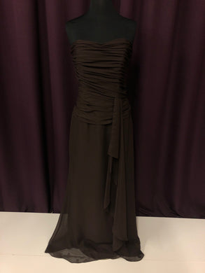 Catrina Size 10 Brown Long Strapless Formal Dress