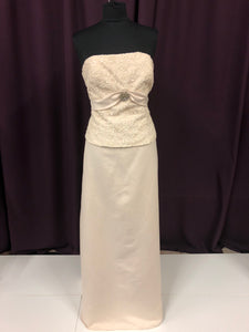 Catrina Size 12 Tan Lace Bead Pearl Formal Dress