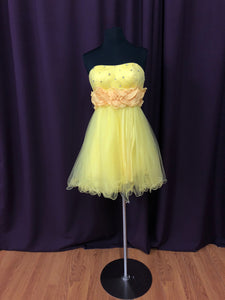 Colors Size 0 Yellow Rhinestone Flower Formal Dress