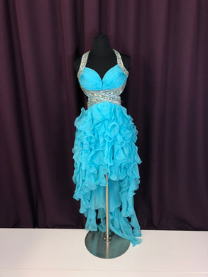 Dave & Johnny Size 0 Blue Rhinestone Sequin Ruffle Formal Dress