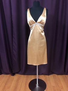 Dave & Johnny Size 12 Gold Rhinestone Formal Dress