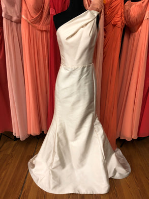 David Meister Size 8 Ivory One Shoulder Wedding Dress