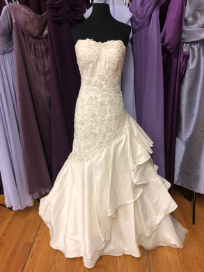 David Tutera Size 10 Ivory Bead Sequin Ruffle Wedding Dress