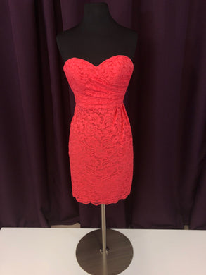 David's Bridal Size 0 Pink Lace Short Strapless Formal Dress