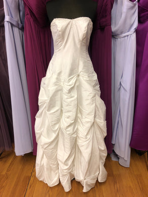 David's Bridal Size 10 White Lace-Up Pick-ups Bead Pearl Wedding Dress