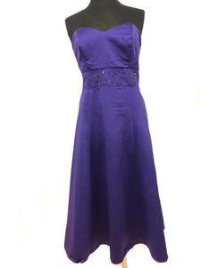 David's Bridal Size 12 Purple Strapless Bead Sequin Formal Dress