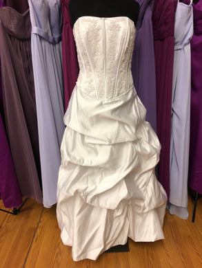David's Bridal Size 12 White Bead Pick-ups Wedding Dress
