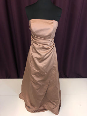 David's Bridal Size 4 Brown Long Strapless Formal Dress