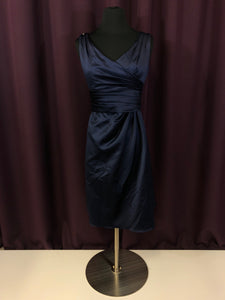 David's Bridal Size 4 Navy Blue Short  Rushing Bead Formal Dress