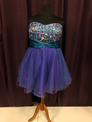 Deb Size 24 Blue Bead Rhinestone Formal Dress