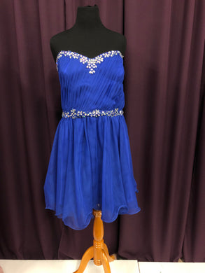 Deb Size 24 Blue Rhinestone Bead Formal Dress