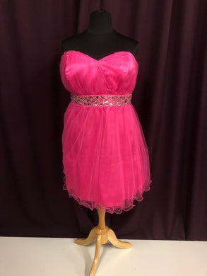 Deb Size 24 Pink Rhinestone Bead Formal Dress