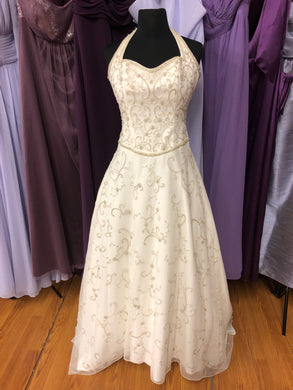 Demetrios Size 10 Ivory Bead Halter Wedding Dress