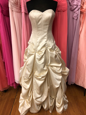 Dinehs Size 12 Champagne Bead Pick-ups Lace Up Wedding Dress