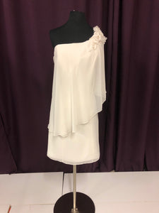 Eden  Size 12 White One Shoulder Flower Bead Formal Dress