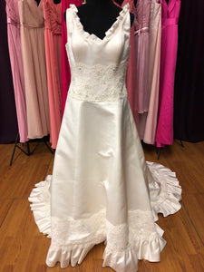 Eden Bridal Size 14 Ivory Lace Sequin Bead Ruffle Wedding Dress