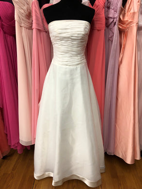 Exclusive Edition   Size 8 White Ruching Bustle Wedding Dress
