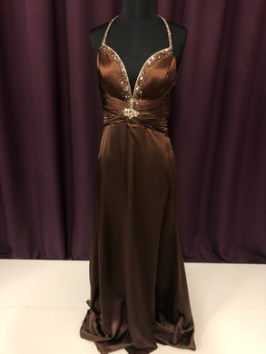 Gigi Size 6 Brown Bead Formal Dress