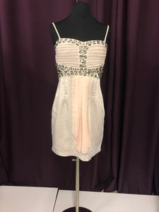 Glamourous Size 12 Tan Rhinestone Short Formal Dress