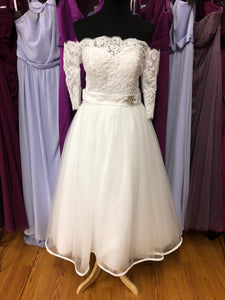 Izidress Size 6 White Bead Sleeve Rhinestone Lace Wedding Dress