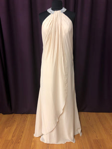 Izilady Size 12 Tan Halter Bead Formal Dress