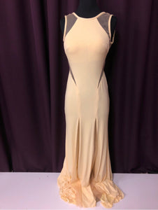 JVN by Jovani Dresses Size 0 Yellow Mesh Formal Dress