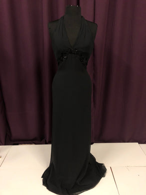 Jim Hjelm Size 0 Black Halter Flower Formal Dress