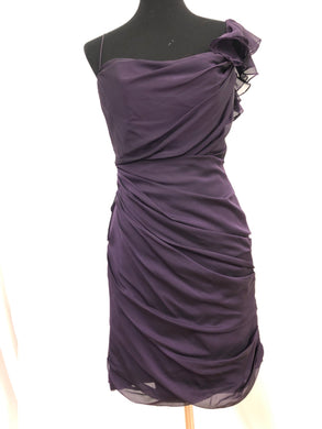 Jim Hjelm Size 10 Purple One Shoulder Short Formal Dress