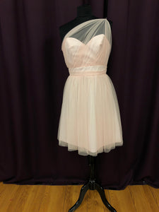Jim Hjelm Size 12 Pink Illusion One Shoulder Mesh  Formal Dress