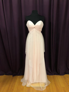 Jim Hjelm Size 12 Pink Mesh Strapless Formal Dress