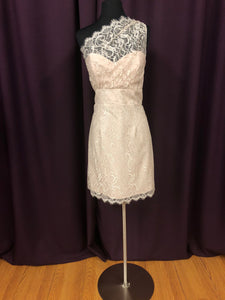 Jim Hjelm Size 12 Tan Lace Short One Shoulder Formal Dress