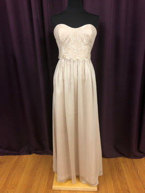 Jim Hjelm Size 12 Tan Long Lace Strapless Formal Dress