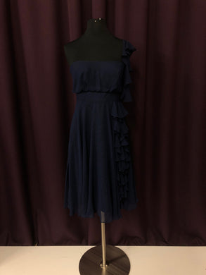 Jim Hjelm Size 8 Navy Blue One Shoulder Ruffle Formal Dress