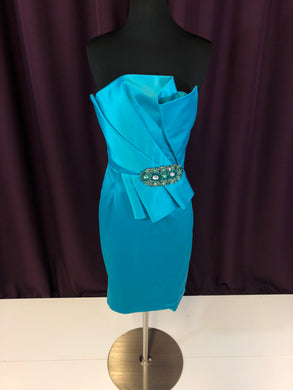 Jovani Size 0 Blue Rhinestone Bead Formal Dress