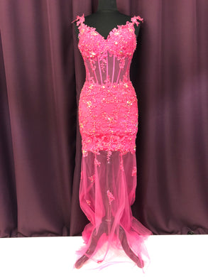 Jovani Size 0 Pink Lace Rhinestone Formal Dress