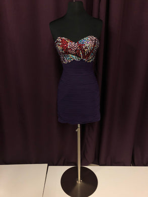 Jovani Size 0 Purple Rhinestone Short NEW Formal Dress