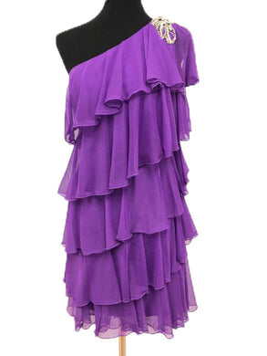 Jovani Size 10 Purple Ruffle Rhinestone Formal Dress