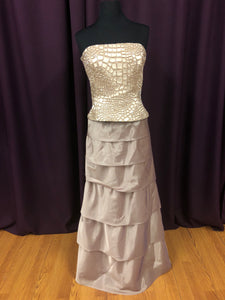 Jovani Size 12 Champagne Bead Formal Dress