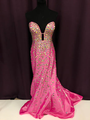 Jovani Size 12 Pink Gemstone NEW Formal Dress
