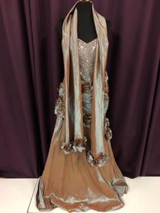 Jovani Size 16 Brown Blue Silver Bead Flower Formal Dress