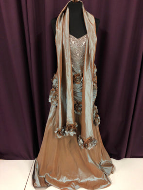 Jovani Size 16 Brown Flower Bead NEW Formal Dress