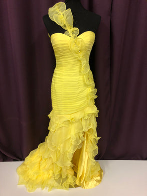 Jovani Size 2 Yellow Flower Rhinestone Sequin Formal Dress
