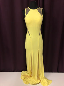 Jovani Size 2 Yellow Illusion Formal Dress