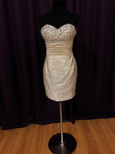 Jovani Size 6 Gold Rhinestone Formal Dress