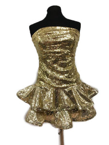 Jovani Size 6 Gold Sequin Formal Dress