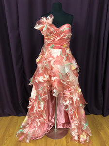 Jovani Size 6 Pink Flower Ruffle Print Formal Dress