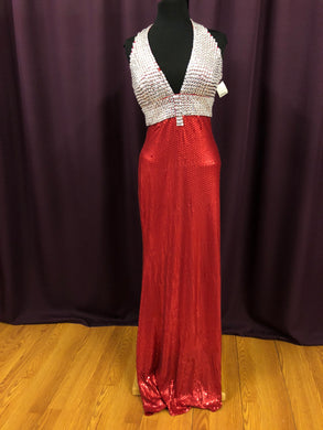 Jovani Size 8 Red Rhinestone Formal Dress