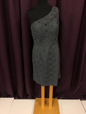 Kennedy Blue Size 12 Gray Lace One Shoulder NEW Formal Dress